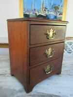 Antique Miniature Mahogany 3 Drawer Chest Jewelry APOTHECARY COUNTRY PRIMITIVE
