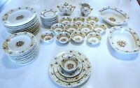 RAYNAUD LIMOGES France 12 Place 40 Piece Setting Floral Gold Accents extras VGC