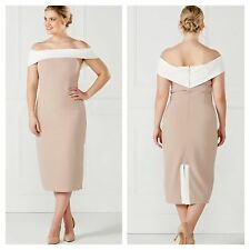 Kaleidoscope Size 16 Simply Fab Cappuccino Cream Bardot MIDI DRESS rrp £59