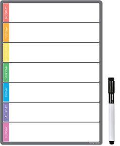 Magnetic Weekly Planner, Dry Wipe Fridge Whiteboard or Dry Erase Calendar Board