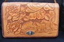 Stitch Hand Tooled Leather Adjustable Length Strap Satchel Bag Tote Purse MEXICO