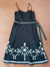 Next Petite Black Strappy Dress, White Embroidered Border, Belt.  Size 10 EUR 38