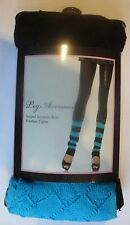 NEW BLACK FOOTLESS STRIPED BLUE LEGWARMER TIGHTS OPAQUELEG AVENUE YOGA DANCE