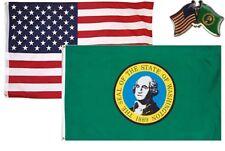 Wholesale Combo USA & State of Washington 3x5 3'x5' Flag & Friendship Lapel Pin