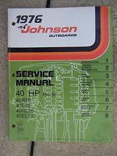 1976 Johnson Outboard Motor 40 HP 40R76 40RL76 40E76 40EL76  Service Manual V