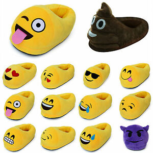 New Ladies Kids Men Plush Emoji Slippers Stuffed Winter Home Indoors Padded Shoe