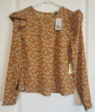 NWT Forever 21 Dandellion Mustard Yellow  White Floral Ruffle Long Sleeve Blouse
