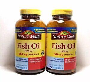 2 Bottles Nature Made Fish Oil 1200 mg OMEGA-3 360mg 400 Softgels Total