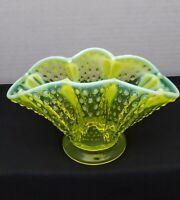 "Vintage Fenton Topaz Opalescent Hobnail Scalloped Vaseline Glass 6 1/2"" Fan Vase"