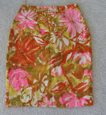 Vintage 1960's Skirt Multicolor Linen Abstract Floral Print