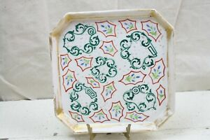 Antique Old Paris Square Tray Hand Painted Art Nouveau Squared Corners Green Gld