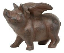 Cast Iron Small Whimsical Flying Pig Angel Decorative Statue Desk Paperweight