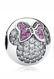Pink Minnie Mouse Disney Bead Round Head Charm With Gift Pouch - Silver Tone
