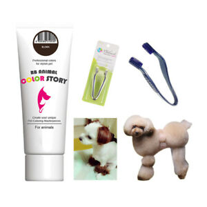 Dog Hair Dye Hair Bleach Brown 50ml + Hair Dye Brush Tool Dog Hair Coloring Set