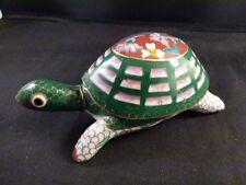 Vintage BOX Enamel Cloisonne Brass turtle tortoise figurine  Chinese   5 INCHES