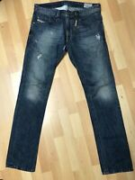RIPPED Mens Diesel THAVAR Denim 0RBE4 DARK BLUE Slim W32 L32 H6 RRP£150