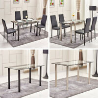 Glass Dining Table+4Pcs Dining Chairs Set Faux Leather Kitchen Dining Room Black