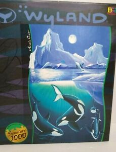 Wyland Buffalo Games 1000 piece jigsaw puzzle Arctic Orcas COMPLETE