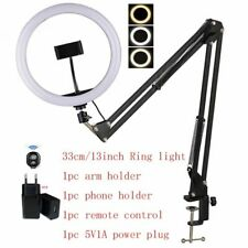 Ring Light w/ Arm Table Holder 16 26 33cm Ring Lamp Remote Control Phone Holder
