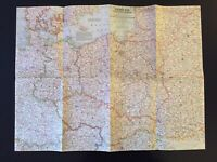 Vintage 1958 National Geographic Society Map of Poland & Czechoslovakia