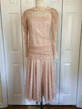 Lorrie Kabala Vtg 1980's Sz 4 Beige Lace Drop Waist  Dress
