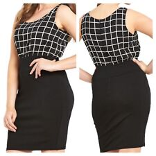 AX Paris Curve Simply Fab Plus Size 26 Black White Grid Print 2 in 1 DRESS Xmas