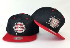 New Mitchell & Ness Brooklyn Nets Black / Red Destructed Denim Snapback Hat