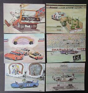 VINTAGE 1969 CHARLOTTE MOTOR SPEEDWAY RACING POSTCARD SET DODGE PETTY PLYMOUTH