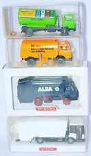 4x Wiking HO 1:87 MERCEDES-BENZ GARBAGE & WASTE CONTAINER TRUCK Set MIB`90 RARE!