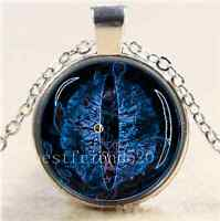 Blue Dragon Eye Photo Cabochon Glass Tibet Silver Chain Pendant Necklace