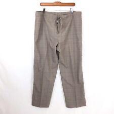 Eskandar Womens Pants Sz 1 Wool Tan Beige Plaid Light Drawstring Wide Leg J22