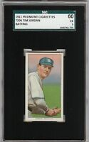 Rare 1909-11 T206 Tim Jordan Batting Piedmont 350-460 Brooklyn SGC 60 / 5 EX