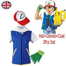 Adult Kids Fancy Dress Anime Go Ash Ketchum Trainer Cosplay Blue Jacket Costume