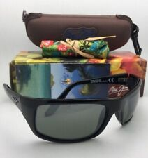 Polarized MAUI JIM Sunglasses PEAHI MJ 202-02 Gloss Black Frames w/ Grey Lenses