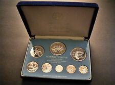 1975 Belize 8-Coin 100% Silver Proof Set Franklin Mint w Box -3.06 oz of silver