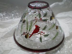 YANKEE CANDLE WINTER BIRDS CLEAR CRACKLE GLASS JAR CANDLE SHADE  RETIRED NEW