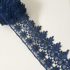 ~Bows Ribbon and Lace~ Navy Blue 1.25inch//35mm Nottingham Gathered Lace Trim