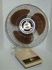 """Galaxy Oscillating 12"""" Fan Vintage 3 Speed Brown Made In USA"""
