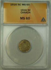1916 Canada 5 Cents Silver Coin ANACS MS-60 UNC