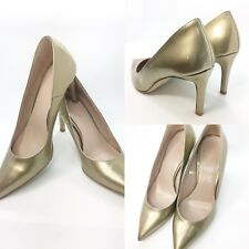 Benetton Gold Patent Shoes Stilettos High Slim Heels Party Sparkly Spike 5 /SH