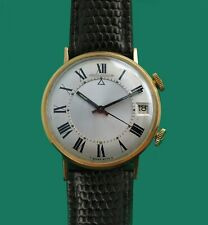 Vintage 50's  Jaeger Le Coultre 10K  Solid Gold Wrist Alarm with Date Watch