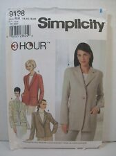Simplicity Sewing Pattern 9138 Misses Size RR (14-20) Jacket Optional Lining New