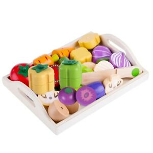 Magnetic Wooden Cutting Vegetables Food Play Toy Set Chopping Game pretend play