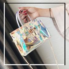 Women Summer Transparent Platinum Handbag Clear Jelly Laser Crossbody Chain Bag