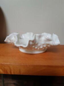 Vintage Fenton White Hobnail Scalloped Dish