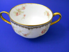Vtg French Haviland Limoges 2 Handled Soup Cup Pink Roses Gold Scalloped Edge
