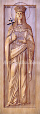 """20""""  St. Helena 3D icon Orthodox  Wooden Carved religious  . Christian Gift."""