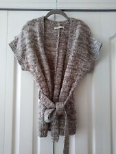 Old Navy Womans Taupe & Cream Open Belted Cardigan Cap Sleeve Wool Blend XS