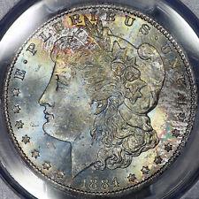 1884-CC Morgan Dollar $1 PCGS MS66 CAC - Colorful Rainbow Toning