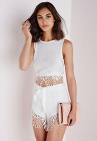 Missguided Co-Ord White Crochet Lace Hem Crop Top  Runner Shorts Size 6 @ Asos